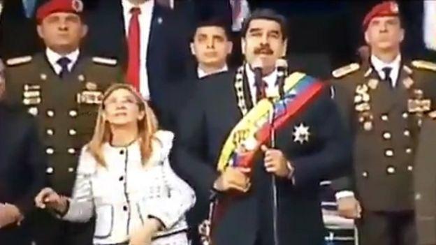 Maduro y su esposa en un acto militar en Caracas