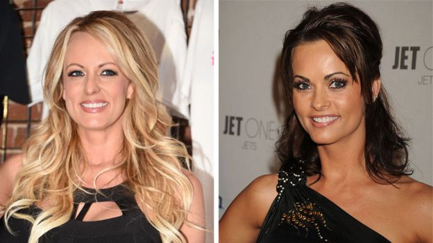 Ex-porn star Stormy Daniels (left) and ex-Playboy playmate Karen McDougal (right)