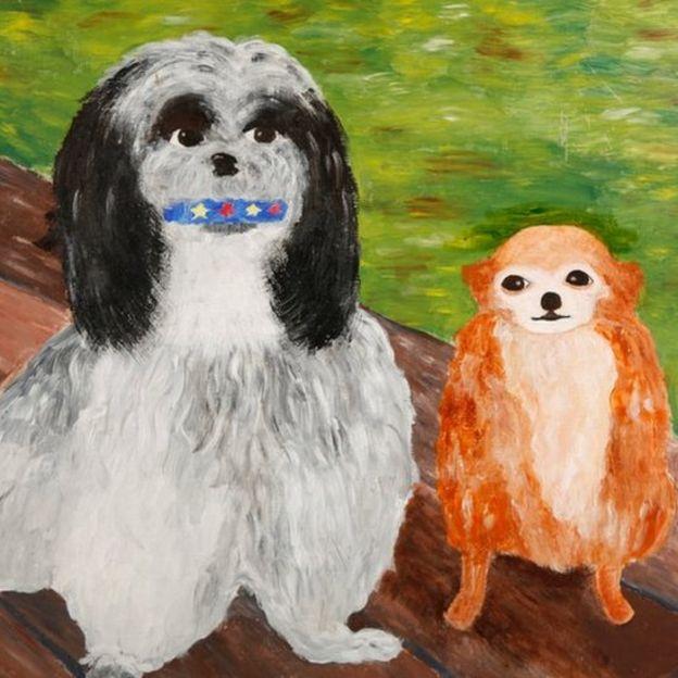 Pintura de dois cachorros