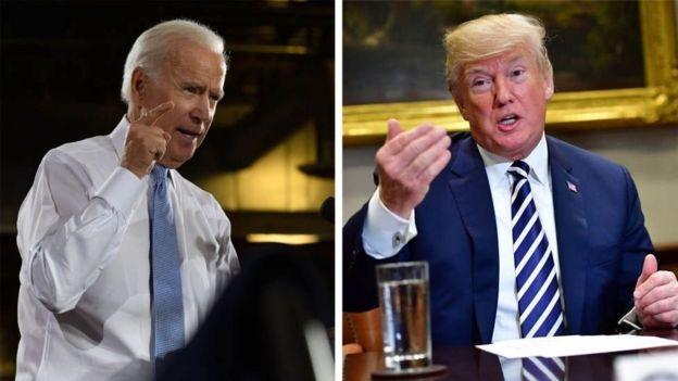 Trump anashutumiwa kuwashinikiza viongozi wa Ukraine kumchunguza hasimu wake kisiasa Joe Biden(kulia)