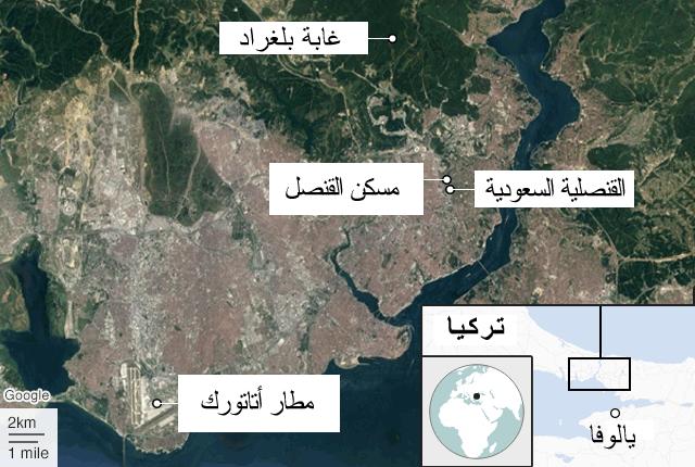 خريطة تبين موقع القنصلية وغابة بلغراد