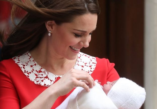 The Duchess of Cambridge leaves the Lindo Wing with her newborn son