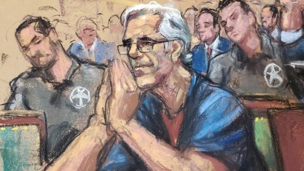 Jeffrey Epstein looks on during a a bail hearing in Jeffrey Epsteins sex trafficking case in this court sketch