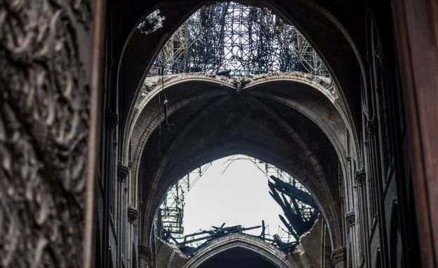 Remnants of the roof of Notre-Dame