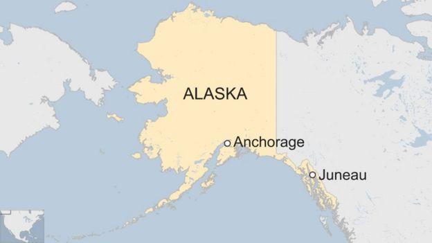mapa de Alaska que muestra la ciudad de Anchorage y Juneau