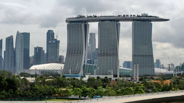 Marina Bay Sands hotel and Singapore skyline