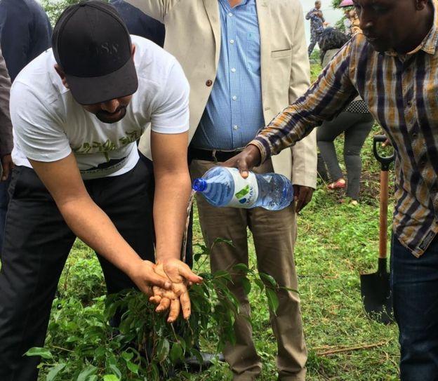 Abiy Ahmed plantando uma árvore