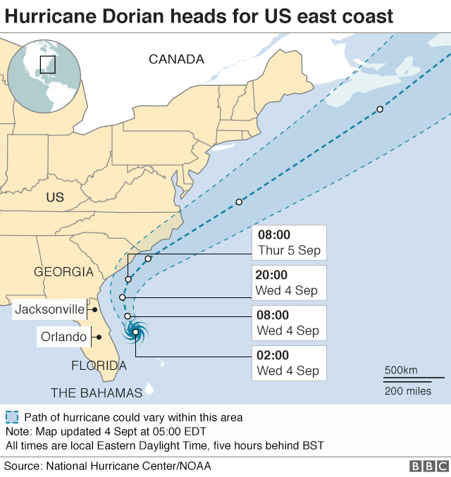 Map showing forecast path of hurricane