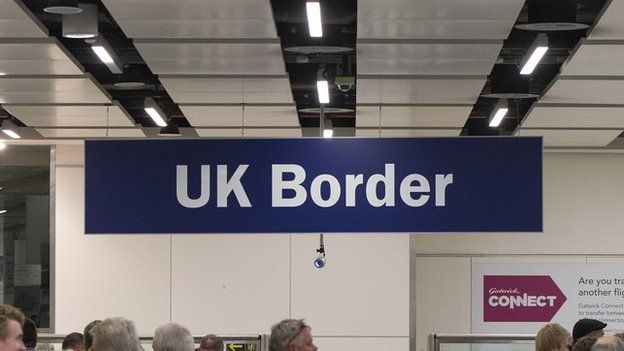 A UK Border sign at Gatwick Airport