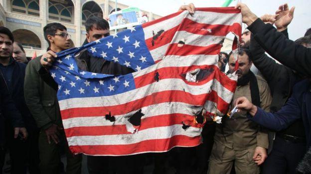 Manifestación en Teherán el 3 de enero de 2020 por la muerte de Soleimani.