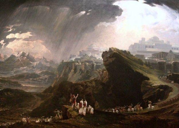 Josué ordenándole al sol que se quede quieto en Gabaón, pintado por el artista británico John Martin (1789-1854).