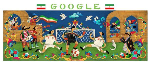 طرح راشین خیریه برای گوگل. میگوید خواسته 'باغ ایرانی' را در این تصویر نشان دهد. سراغ استادیوم نرفته چون در ایران زنان را به استادیوم راه نمیدهند و نخواسته 'دروغ' بگوید.
