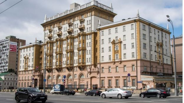 El edificio antiguo de la embajada de Estados Unidos en Moscú.