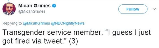 Tweet from NBC's Micah Grimes reads: