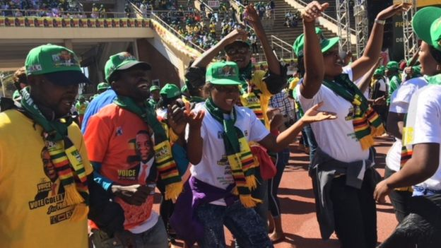 Zanu-PF supporters in Harare, Zimbabwe