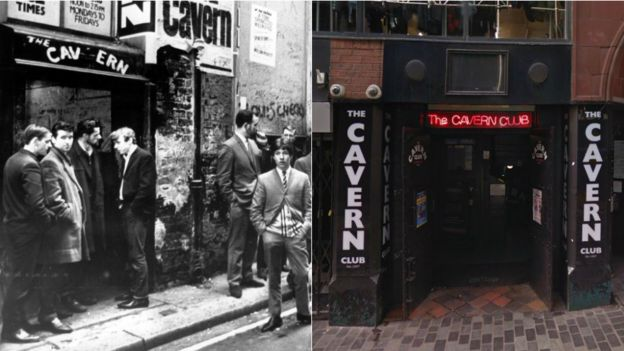 The original Cavern Club in 1966 and the rebuilt club in 2017