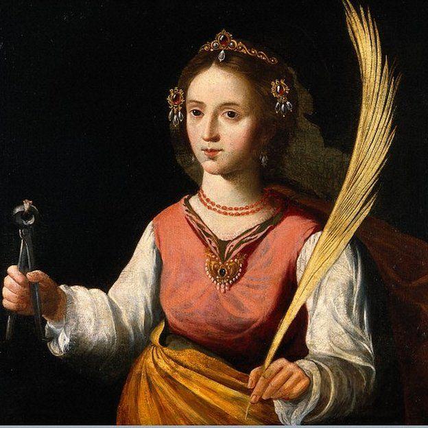Retrato de Santa Apolonia, patrona de la odontología. Óleo de un seguidor de Francisco de Zurbarán.