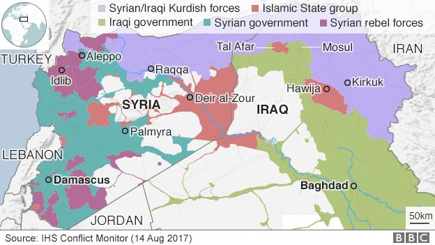 Iraq war why the battle for tal afar matters bbc news map showing control of iraq and syria 14 august 2017 gumiabroncs Gallery