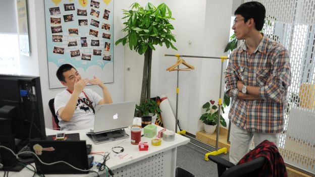 Staff members at Sina Weibo in China