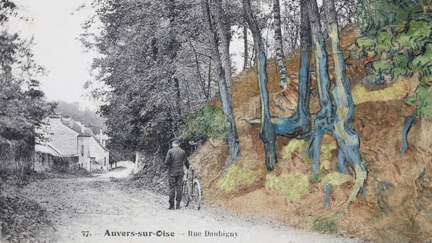 Post card 'rue Daubigny, Auvers-sur-Oise' covered with the painting 'Tree Roots' (1890) by Van Gogh, ©arthénon