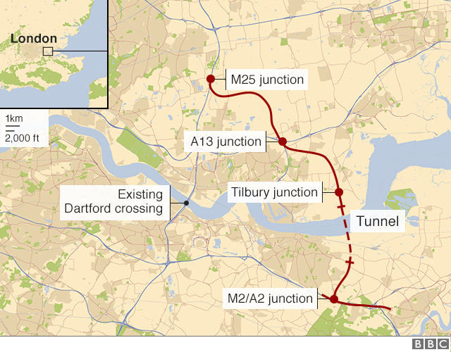 Lower Thames Crossing Map Lower Thames Crossing to be 'biggest road project since M25'   BBC