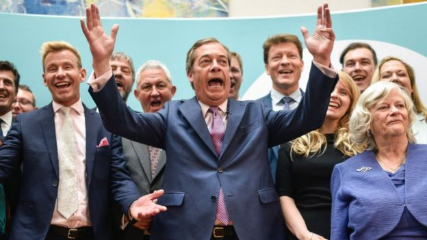 Nigel Farage celebrating with newly-elected Brexit Party MEPS