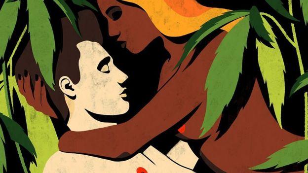 Ilustração de um casal durante o ato sexual
