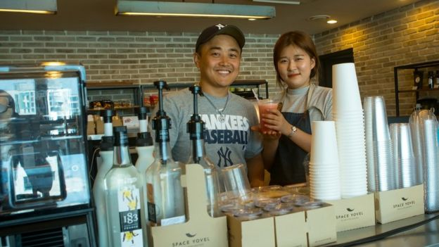 Joseph Park in his coffee shop in Seoul
