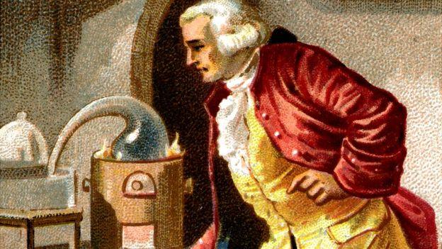 Lavoisier con una de sus máquinas