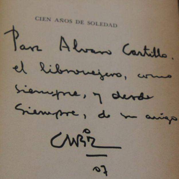 Dedicatoria de García Márquez al librero Álvaro Castillo.