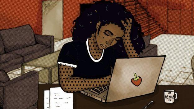 Dibujo de una mujer triste mirando una computadora.