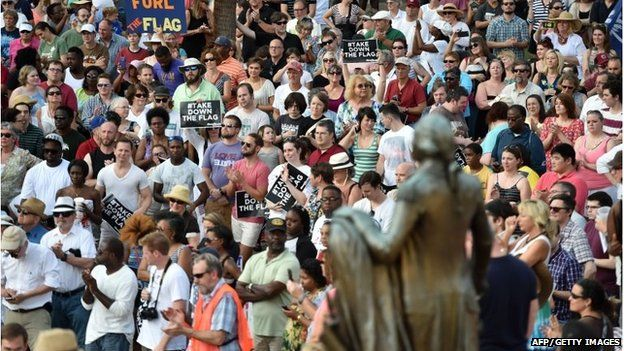 Hundreds of people gather for a protest rally against the Confederate flag in Columbia, South Carolina on June 20, 2015