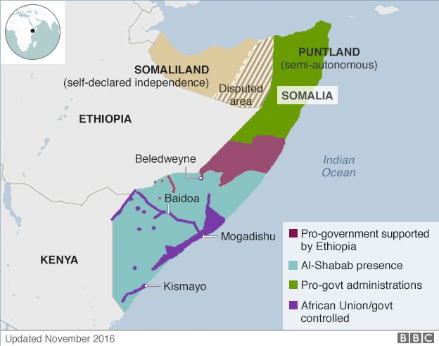 Map showing which groups control parts of Somalia, as of November 2016