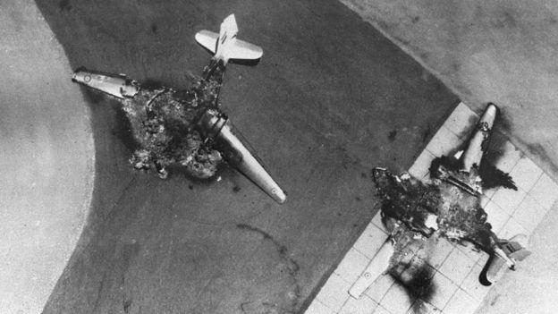 Aeronaves da Força Aérea do Egito destruídos por Israel