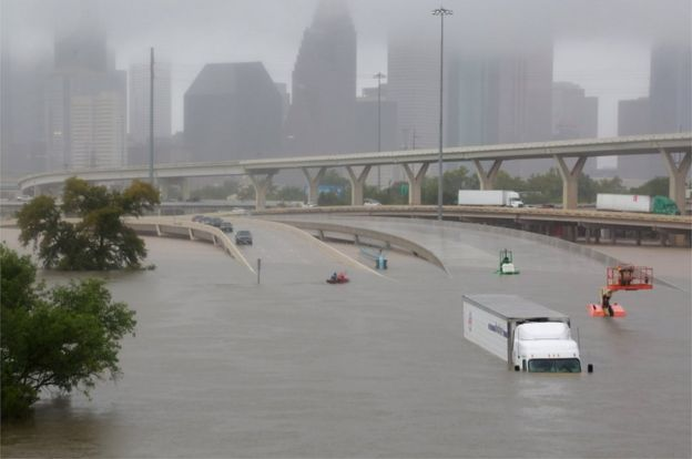 Interstate highway 45 is submerged from the effects of Hurricane Harvey seen during widespread flooding in Houston, Texas, 27 August 2017.