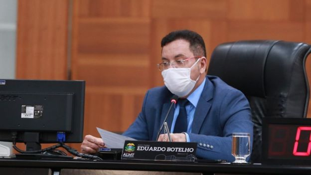Eduardo Botelho durante sessão na Assembleia de Mato Grosso no início de julho, dias antes de ser diagnosticado com a covid-19