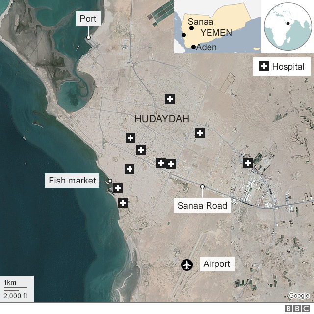 Yemen war: Pro-government forces 'storm Hudaydah airport ... on detailed map of yemen, road map of yemen, outline map of yemen, terrain map of yemen, political map of yemen, physical map of yemen, topographic map of yemen,