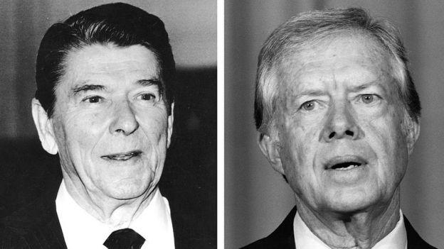 Ronald Reagan y Jimmy Carter