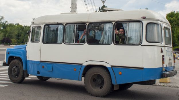 Soldiers travel by bus in Trans-Dniester