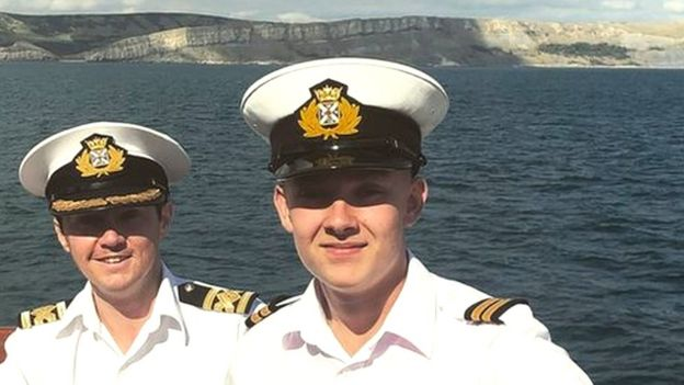 Matt Carpenter (r) and fellow Merchant Navy apprentices at sea