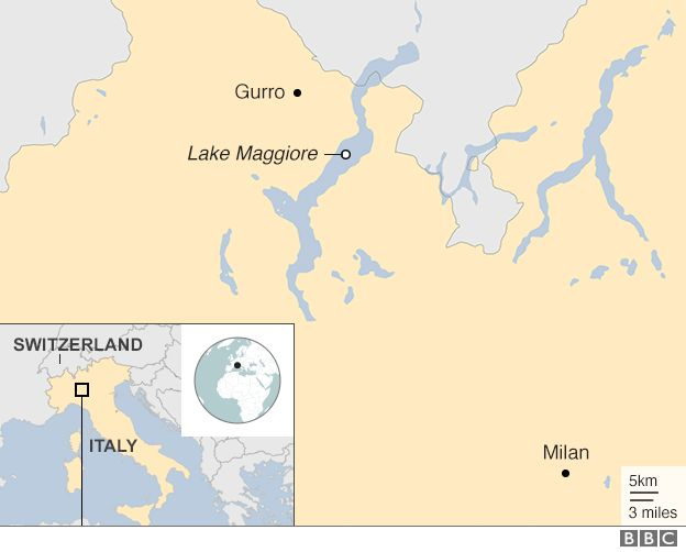Map of Gurro and northern Italy