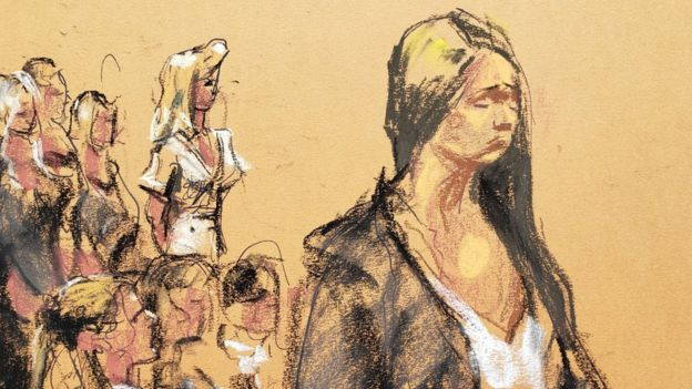 A courtroom sketch of Courtney Wild standing at the podium to make an impact statement during the hearing
