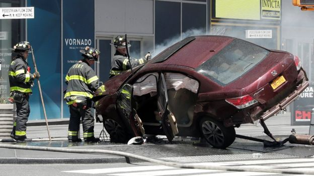 A vehicle that struck pedestrians in Times Square
