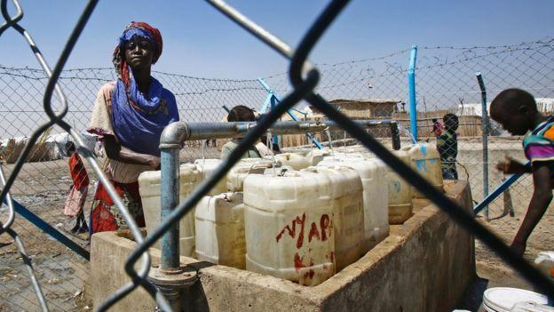 Mujer refugiada africana