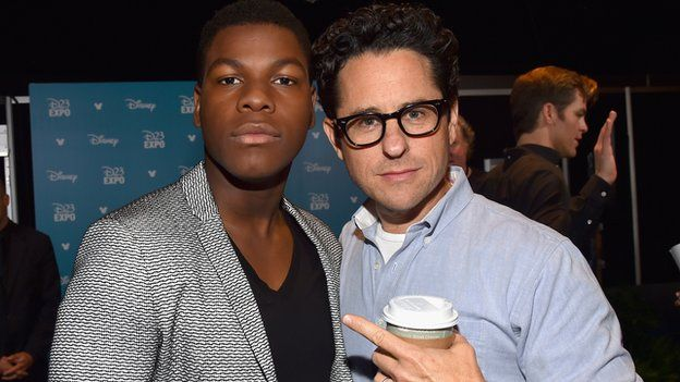 Thousands leapt to the defence of Star Wars actor Jon Boyega, left, and director JJ Abrams, after they became targets of racial abuse on Twitter