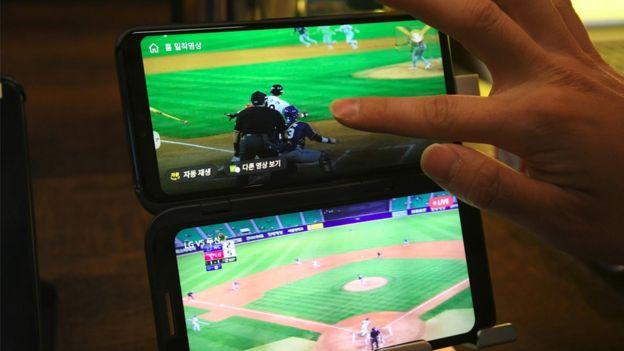 A screen of a 5G smartphone