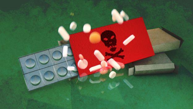 Ilustración sobre un medicamento peligroso