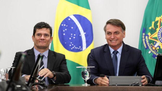 Jair Bolsonaro ao lado de Sergio Moro