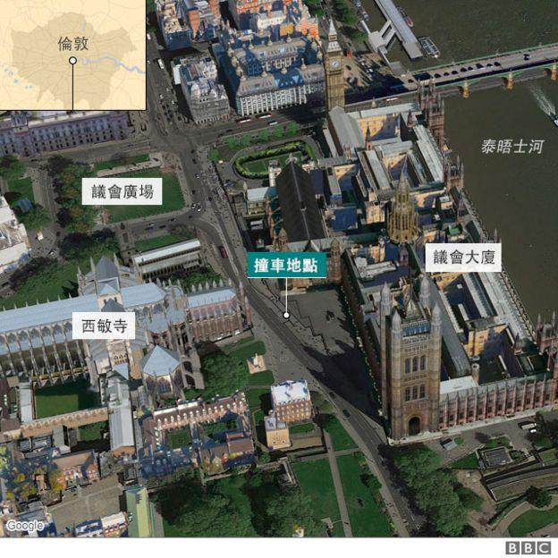 倫敦議會大廈附近地圖