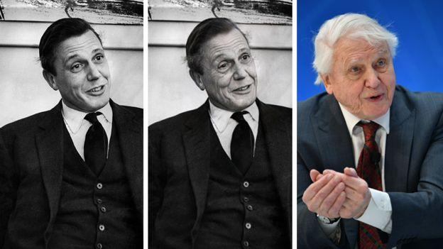 Composite image of Sir David Attenborough before the app, after it and what he looks like now